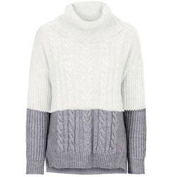 Sweter dzianinowy w warkocze bonprix szaro-biel wełny