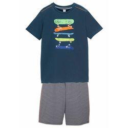 Shirt chłopięcy + krótkie spodnie (2 części) bonprix ciemnoniebieski w paski