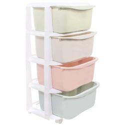 Regał z szufladami na kółkach 4 półki pastelowe