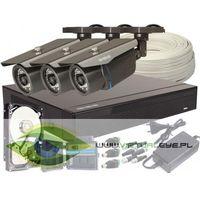 Zestawy monitoringowe, Zestaw pełny: Rejestrator GS-M1004FH-V2 + 3x Kamera GS-2CM4-30IR-V + Dysk 1 TB