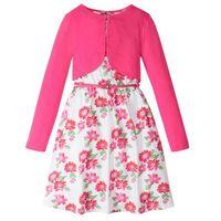 Zestawy odzieżowe dziecięce, Sukienka + pasek + bolerko (3 części) bonprix biało-ciemnoróżowy w kwiaty
