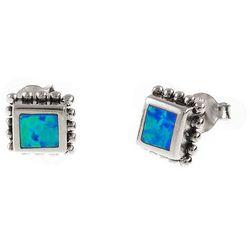 Eleganckie oksydowane srebrne kolczyki kwadrat niebieski opal srebro 925 K1635