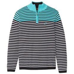 Sweter ze stójką w paski, z bawełny z recyclingu bonprix morsko-czarno-biały
