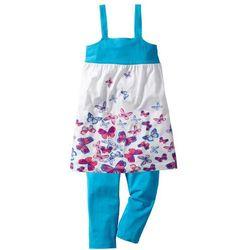 Sukienka + legginsy 3/4 (2 części) bonprix turkusowy w motylki