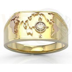 Sygnet Morski z żółtego i różowego złota z brylantem SJ-1410ZP - Żółte i różowe