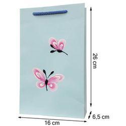 Torebka ozdobna prezentowa ręcznie malowana 26x16 - motylki