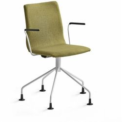 Krzesło konferencyjne OTTAWA, nogi pająka, podłokietniki, oliwkowa tkanina, biały