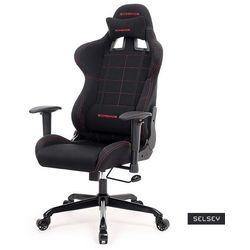 SELSEY Fotel gamingowy Lenis czarny z czerwonymi obszyciami