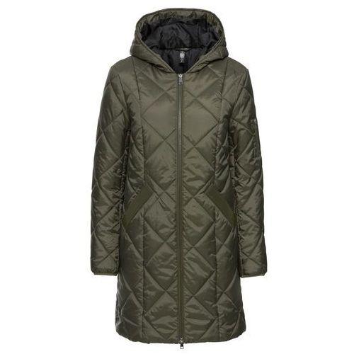 Płaszcze damskie, Płaszcz pikowany dwukolorowy bonprix ciemnooliwkowo-czarny