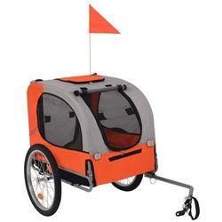 Przyczepka rowerowa dla psa, pomarańczowo-szara