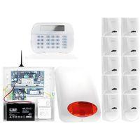 Zestawy alarmowe, ZA12549 Zestaw alarmowy DSC 10x Czujnik ruchu Manipulator LCD Powiadomienie GSM