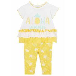 Shirt niemowlęcy + legginsy (2 części), bawełna organiczna bonprix żółty tulipan - biały