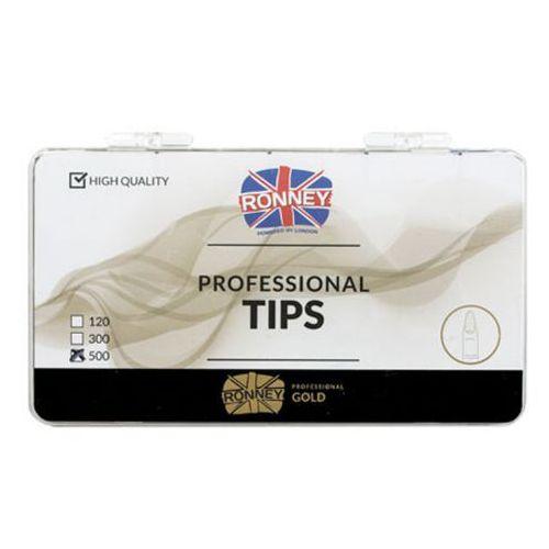 Tipsy, Ronney PROFESSIONAL TIPS ALMOND CREAM Tipsy migdałki bez kieszonki, kremowe (500 szt.)