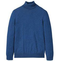 Sweter z golfem z kaszmirem bonprix niebieski melanż