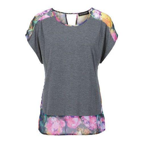 Bluzki, Shirt z bluzkową wstawką bonprix szary melanż z nadrukiem