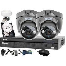 Zestaw do monitoringu: Rejestrator BCS-XVR0401 + 2x BCS-DMQE1200IR3 - Dysk 1tB + Akcesoria