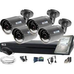 ZM12023 Zestaw do monitoringu Rejestrator BCS-CVR0802-XA 4x Kamera tubowa HD Dysk 1TB akcesoria
