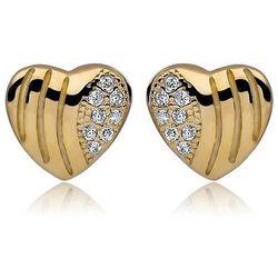 Delikatne pozłacane srebrne kolczyki serca serduszka z cyrkoniami srebro 925 Z0543G