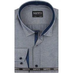 Koszula Męska Sefiro gładka niebieska melanż SLIM FIT na spinki lub guzik A117