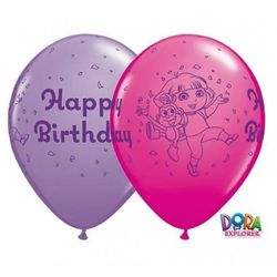 "Balon QL 11"" z nadrukiem Dora The Explorer Happy Birthday, mix"