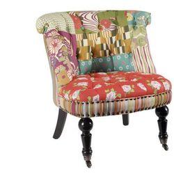 Niski fotelik NARCISA - Tkanina patchworkowa w kolorach czerwieni i zieleni
