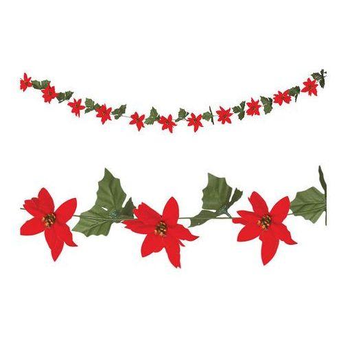 Ozdoby świąteczne, Girlanda Kwiaty Poinsecji - 200 cm - 1 szt.