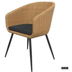 SELSEY Krzesło ogrodowe Kencur jasny technorattan z czarnym siedziskiem