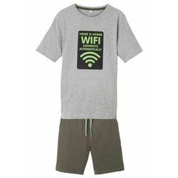 T-shirt + bermudy dresowe (2 części) bonprix jasnoszary melanż + ciemnooliwkowy