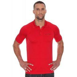 Koszulka męska polo Brubeck Prestige z krótkim rękawem SS10920 Czerwony