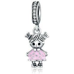 Rodowany srebrny wiszący charms do pandora dziewczynka girl srebro 925 BEAD7GIRL