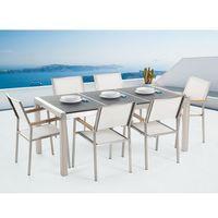 Zestawy ogrodowe, Zestaw ogrodowy naturalny kamień 180 cm 6-osobowy krzesła białe GROSSETO
