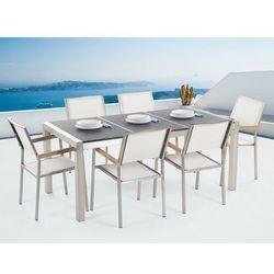 Zestaw ogrodowy naturalny kamień 180 cm 6-osobowy krzesła białe GROSSETO