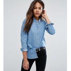 ASOS DESIGN Tall denim shirt in midwash blue - Blue