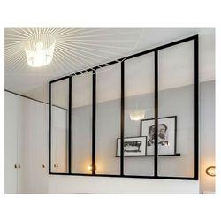 Przeszklona ścianka BAYVIEW z aluminium lakierowanego na czarno - 150x130 cm