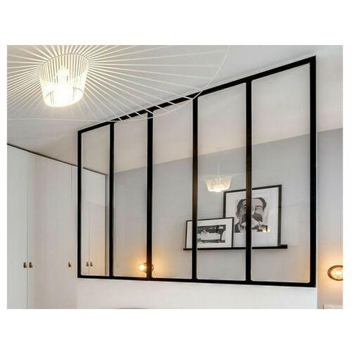 Pozostałe drzwi i akcesoria, Przeszklona ścianka BAYVIEW z aluminium lakierowanego na czarno - 150x130 cm