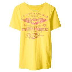 T-shirt z dekoltem w serek Slim Fit bonprix limonka z nadrukiem
