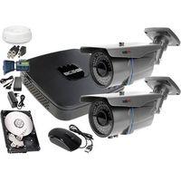 Zestawy monitoringowe, Zestaw do monitoringu: Rejestrator BCS-XVR0401E, 2x Kamera LV-AL60MVT, 1TB, akcesoria