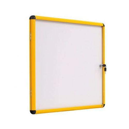 Gabloty reklamowe, Gablota z białą magnetyczną powierzchnią, żółta ramka, 500x674 mm (4xA4)