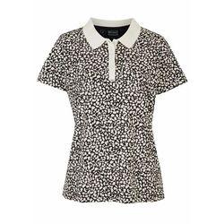 Shirt polo bonprix biało-czarny leo z nadrukiem