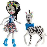 Lalki dla dzieci, ENCHANTIMALS Lalka Zelena + duże zwierzę zebra FKY75