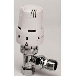 Kątowy zawór termostatyczny z zaworem spustowym - biały 1/2''