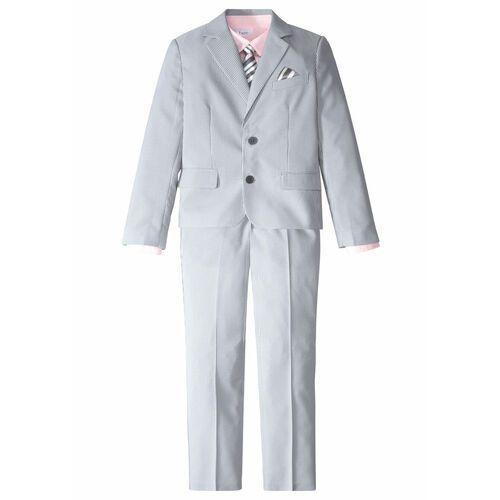 Garnitury chłopięce, Garnitur chłopięcy 4 częściowy: marynarka + spodnie+ koszula + krawat bonprix dymny szary - biały w paski + jasnoróżowy