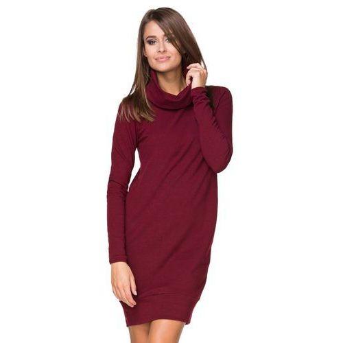 Suknie i sukienki, Bordowa Sukienka Dzianinowa Prosta z Golfem