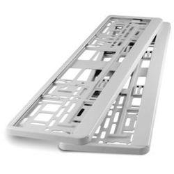 Ramki pod tablicę rejestracyjną metalizowane Białe 2 szt - Białe