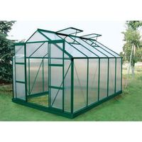 Szklarnie, Szklarnia ogrodowa z poliwęglanu o pow. 9 m² COROLLE II z podstawą - Zielona