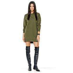 Khaki Asymetryczna Sportowa Krótka Sukienka ze Ściągaczem