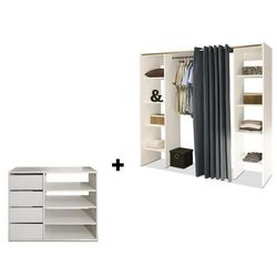 Zestaw garderoba + mebel do przechowywania EMERIC - Biały i antracytowy