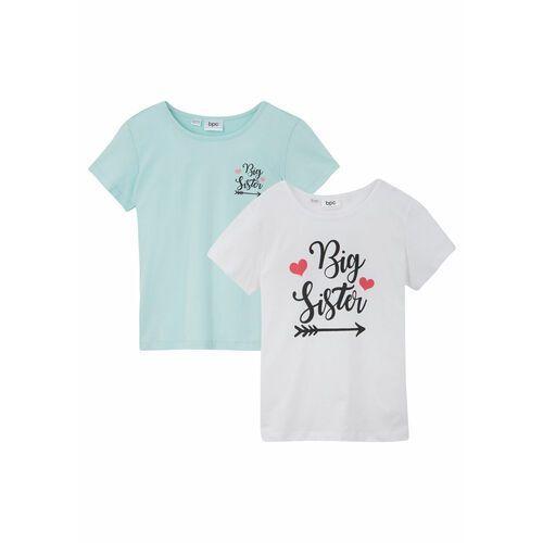 Koszulki z krótkim rękawkiem dziecięce, T-shirt (2 szt.) bonprix biały + morski pastelowy