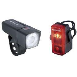 SIGMA SPORT Aura 25 / Cubic zestaw oświetlenia rowerowego 2019 Lampki na baterie zestawy