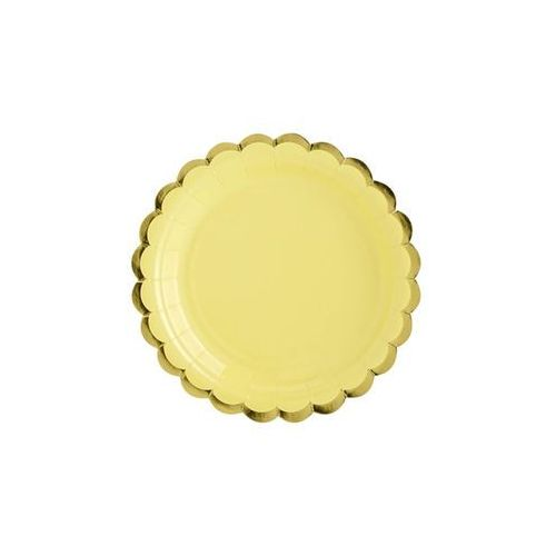 Pozostałe wyposażenie domu, Talerzyki żółte ze złotymi brzegami - 18 cm - 6 szt.